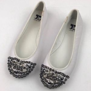 Joes Jeans l White Jeweled Ballet Flats
